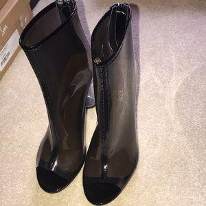 Shoes - Public Desire Woke clear Perspex Heel ankle boots